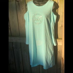 NWT🏷 Michael Kors Strip Cold Shoulder Dress L